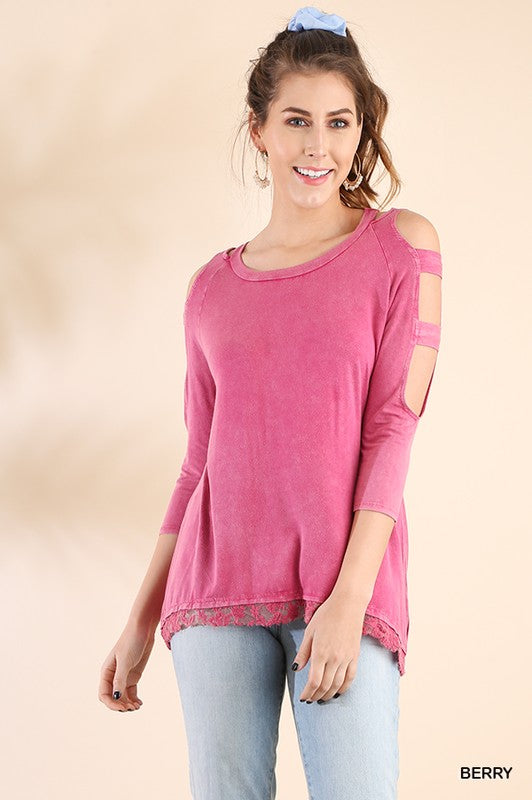 Million Reasons Mineral Washed 3/4 Sleeve Top with Shoulder Cutouts and a Floral Lace Hem