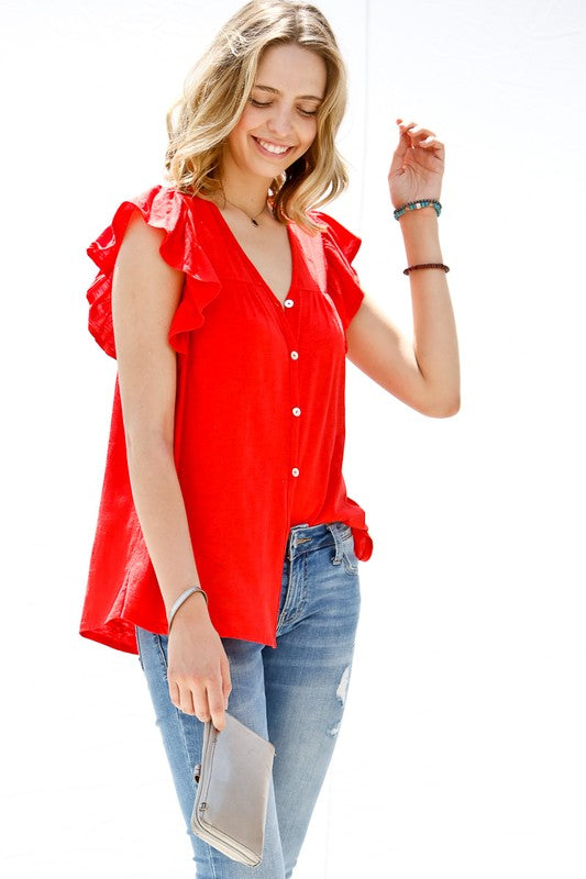 Sparks Fly Button Down Short Ruffle Sleeve Rayon & Line Top, Red