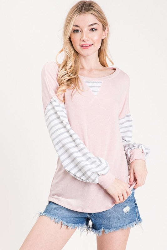 More Love French Terry Round Neck Puff Sleeve Top, Blush, S-XL