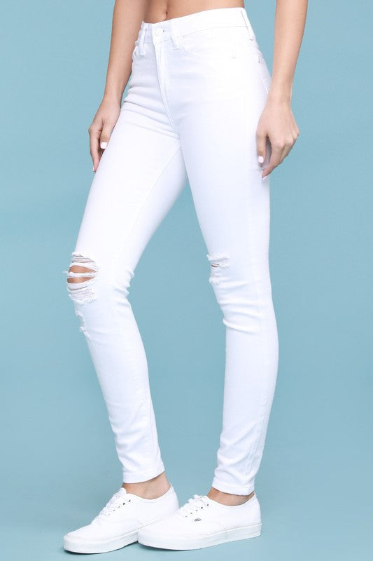 Run To You High Waist Distressed Knee Skinny Jeans by Judy Blue, White