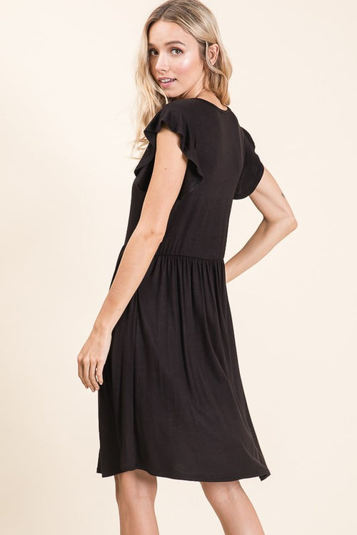 What It Takes Black Casual Ruffle Sleeve Midi Dress, Black