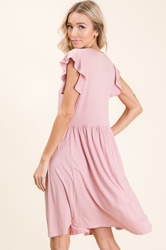 What It Takes Casual Ruffle Sleeve Midi Dress, Pink