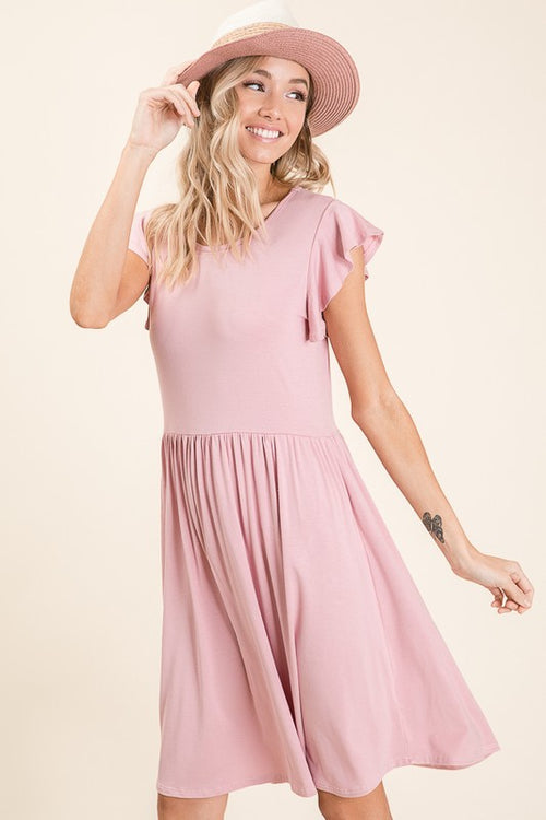 What It Takes Black Casual Ruffle Sleeve Midi Dress, Pink