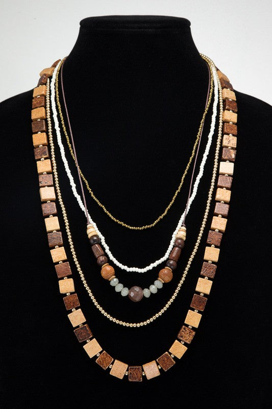 Straight Up Multi-Layered with Mixed Shape Wooden, Glass & Metal Bead Boho Necklace