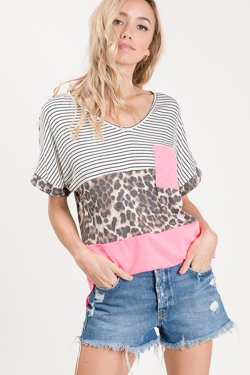 All I Wanna Do Color Block Pocket Top, Fuschia