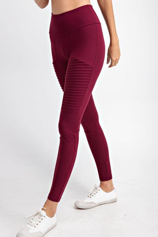 Time is Mine Moto Microfiber High Waist Yoga Band leggings, Burgundy