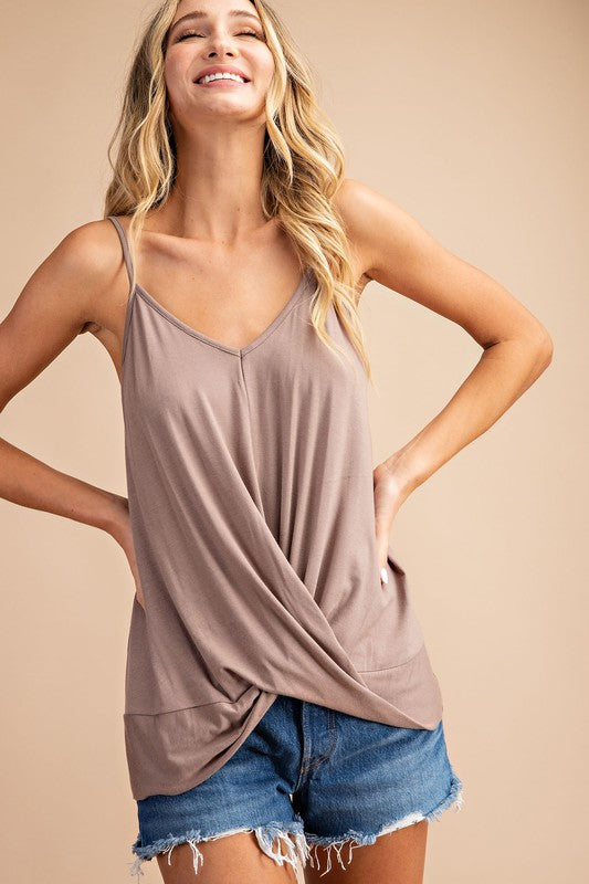 Knit Wrap Camisole Top, S-L Cocoa