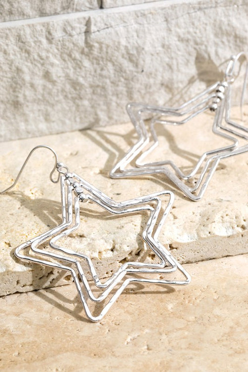 Metal Ring Dangle Earings with Star & Bead Charm, Silver