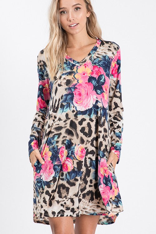 Pretty Runs Out V Neck Floral and Animal Print Dress with Side Pocket