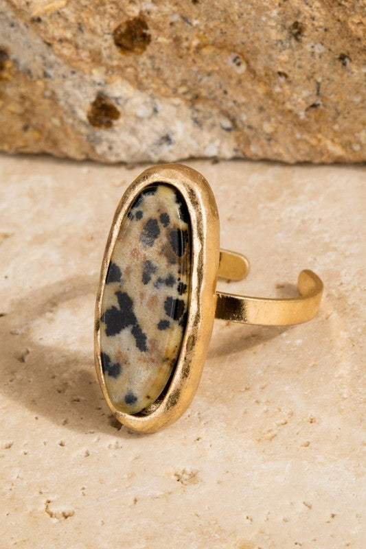 Abracadabra Oval Natural Stone  with Hammered Metal Adjustable Band, Spotted