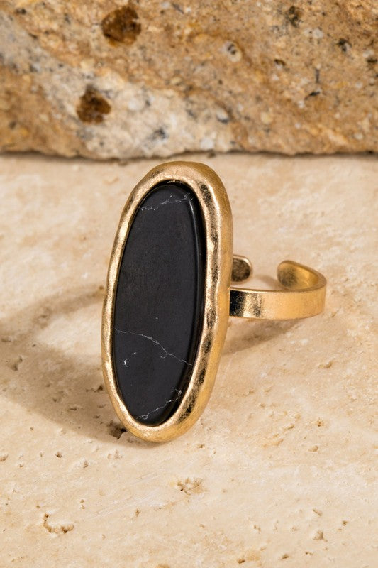 Abracadabra Oval Natural Stone with Hammered Metal Adjustable Band, Black