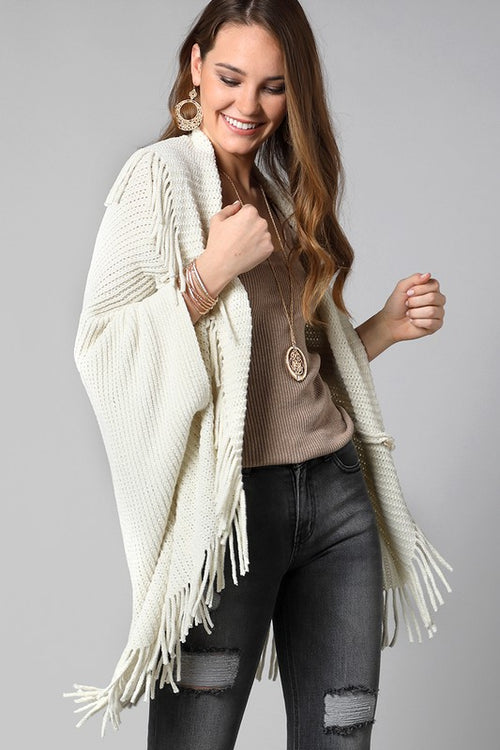 Love Game Plush Luxurious Chenille Knit Cocoon Cardigan with Fringe Accent, Cream