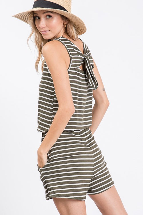 Striped Tie Back Detail Tank Style Romper, Olive, S-XL