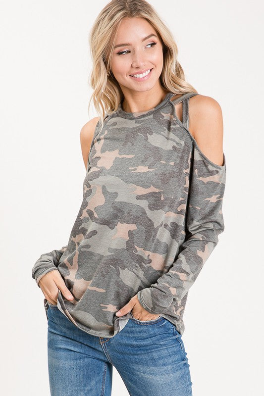 Feeling Cool Long Sleeve Cold Shoulder With Strap Details Camo Knit Top