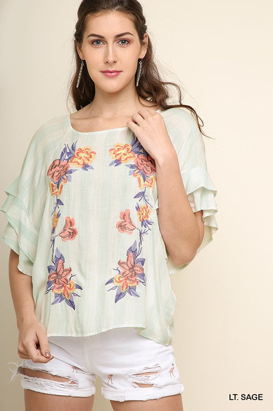 Vertical Striped Floral Embroidered Top with Tiered Ruffle Sleeves, Sage, S-L