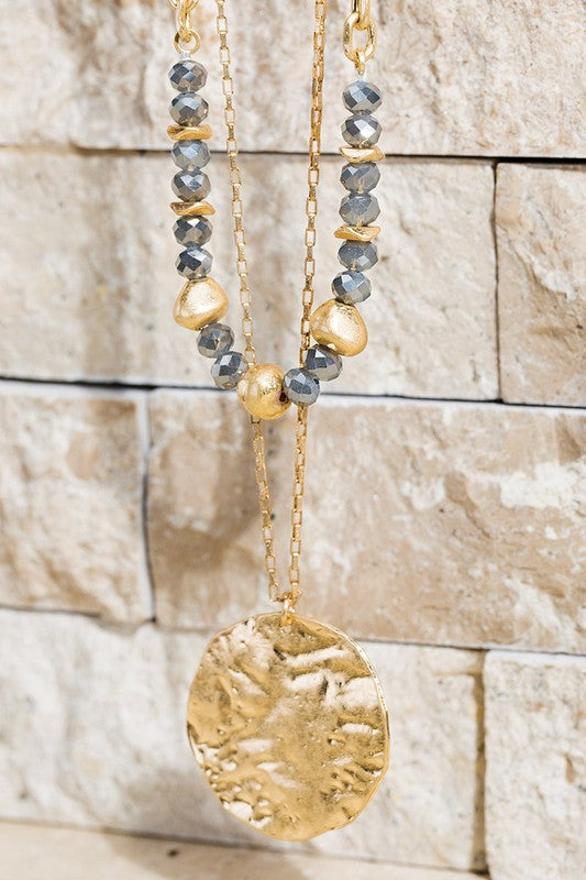 Layered Hammered Metal Necklace, Hematite & Gold