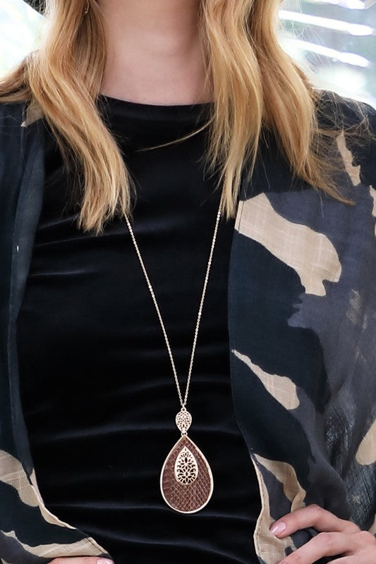 We Run This Genuine Leather & Faux Fur Print Teardrop Pendant With Filigree Accent Necklace, Brown
