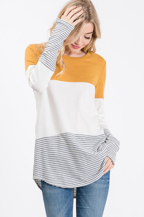 Bring It Back Color Block Tunic Top with Thumbholes
