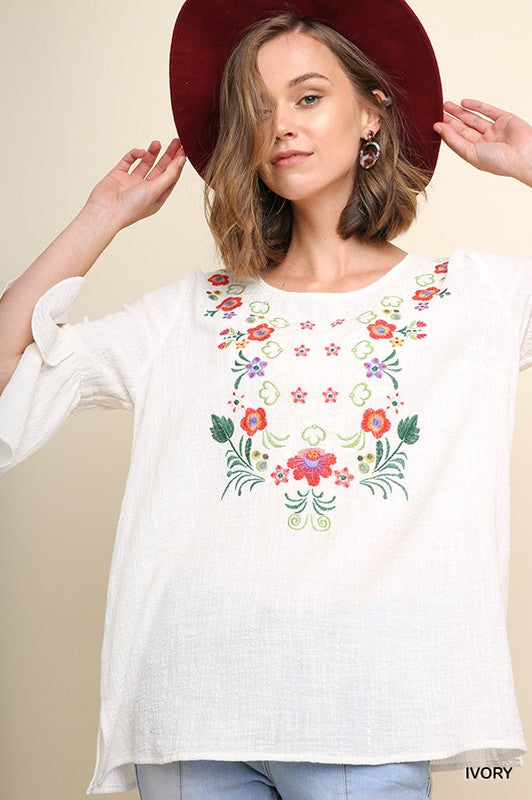 Floral Embroidered Tulip Bell Sleeve Top with Split Hem, S-L, Ivory
