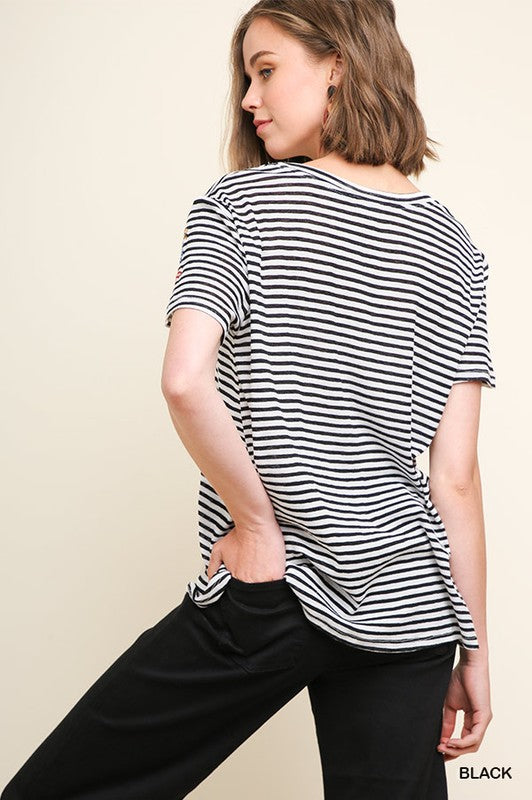 Striped Short Sleeve Embroidered Knit Top, S-L, Black