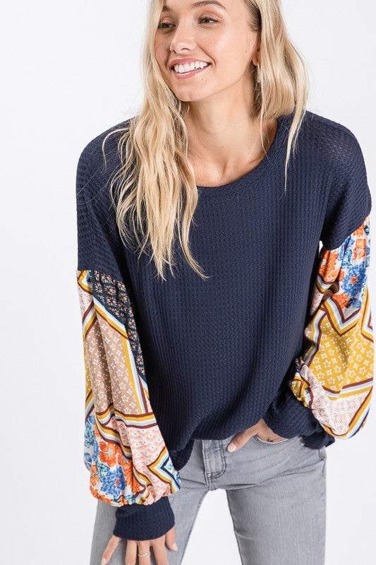 Addicted to Love Bishop Sleeve Waffle Knit Top, Navy