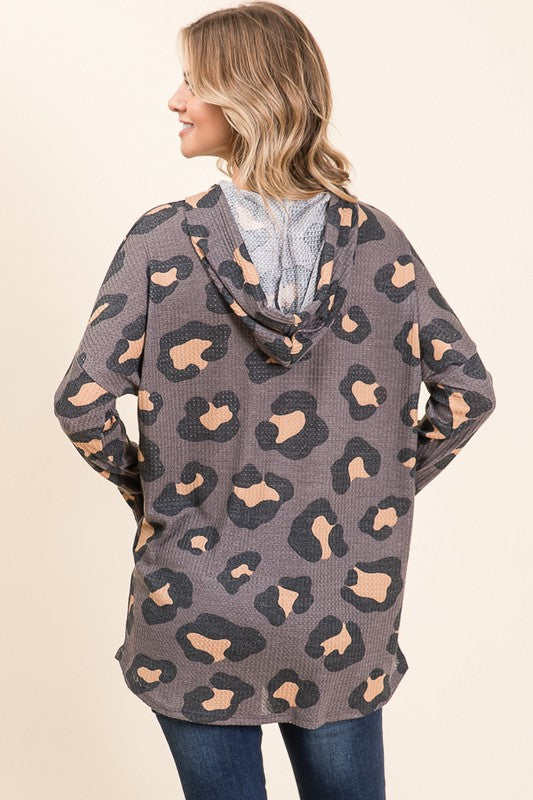 Vision Of Love Animal Print Hooded Tunic with Suede Drawstrings, Charcoal