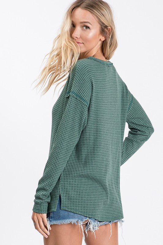 Stepping Out Thermal Fabric Waffle Knit Top with Front Reverse Stitch Seam Detail & Drop Shoulder