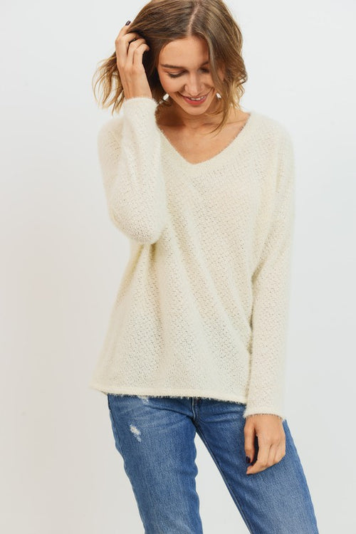 One Touch Brushed Eyelash Knit High Low Top, Cream