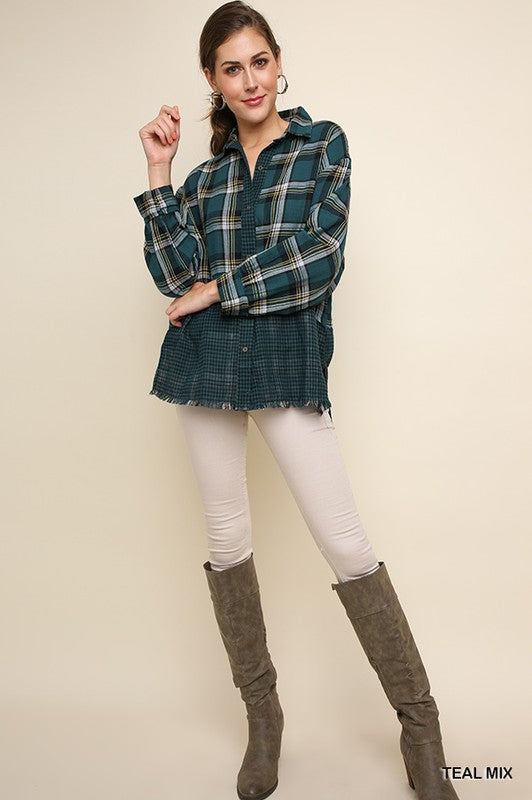 Bringing On The Heartache Plaid Long Sleeve Collared Button Up Top, Teal