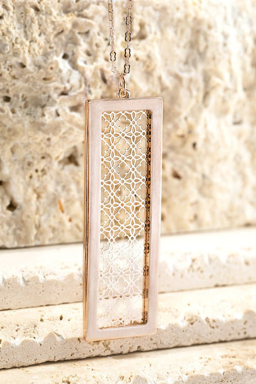 Breaking The Rules Metal Rectangle Bar with Filigree Flower Design, Rose Gold