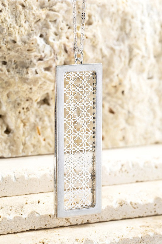 Breaking The Rules Metal Rectangle Bar with Filigree Flower Design, Silver