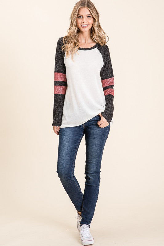 Empty Space Hacci Knit Long Sleeve Top with Contrast Sleeves & Stripe Detail