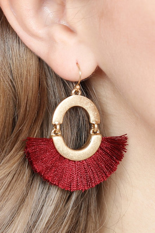 Get The Party Started Fan Shaped Tassel Linked Hoop Drop Earrings