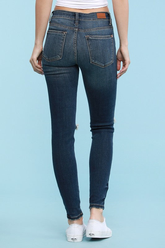 Into The Night Destroyed Skinny Jeans with Hem Tacking by Judy Blue, Dark Denim