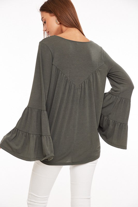 Shake Your Bon-Bon V-Neck Bell Ruffle Sleeves Top, Olive
