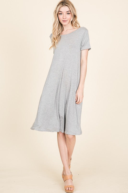 Relaxed Fit Cross Back Detail Midi Dress, No pockets, Gray S-
