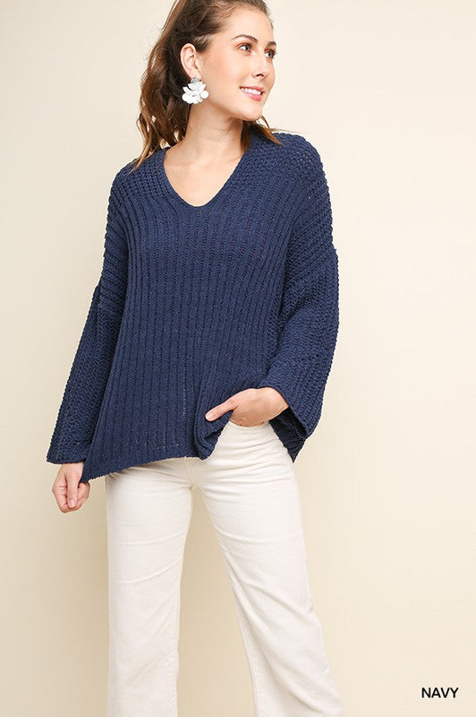 Don't Stop The Music Long Sleeve Chenille Knit V-Neck Pullover Sweater, Navy