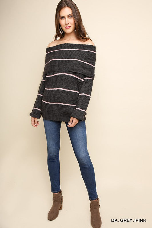We Found Love Striped Fold-Over Off Shoulder Knit Sweater, Grey & Pink