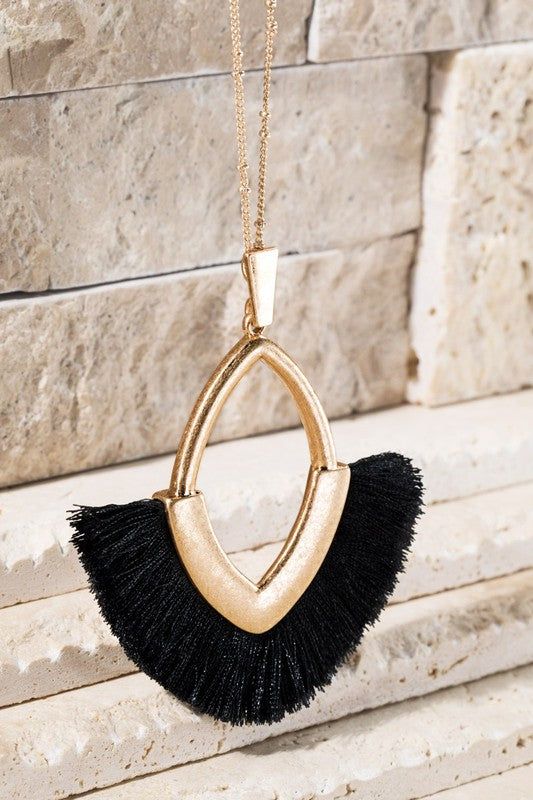 Hey Jude Marquise with Tassel Necklace, Black