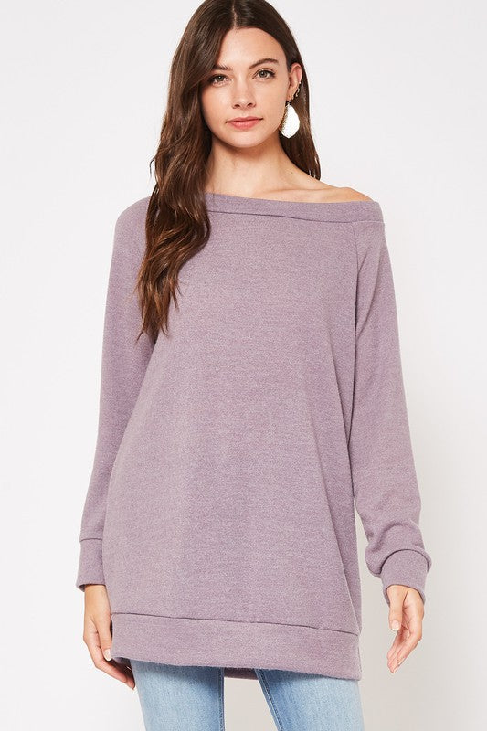 With Your Love Solid Brushed Tunic with Banded Hem, Purple Bean