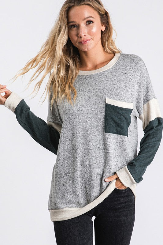 Miracle Hacci Brush Color Block Long Sleeves Top with Pocket Detail