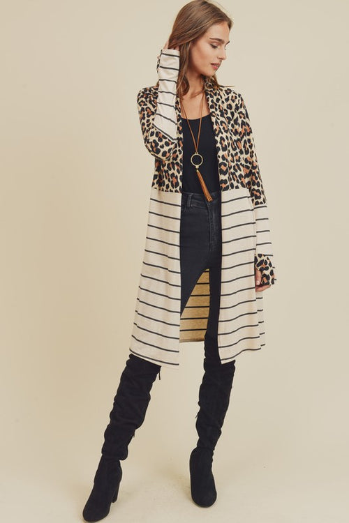 Lookin' For A Reason Oatmeal Leopard and Stripe Cardigan with Thumbholes