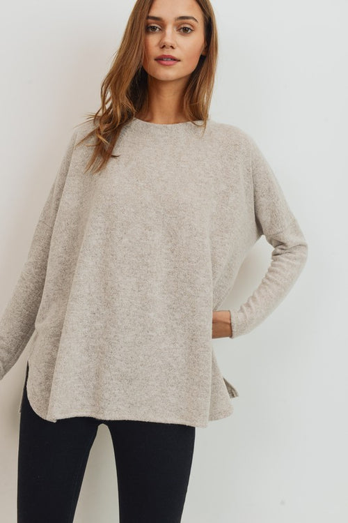 With Your Love Brushed Knit Long Sleeve Loose Fit Round Neck Top, Taupe