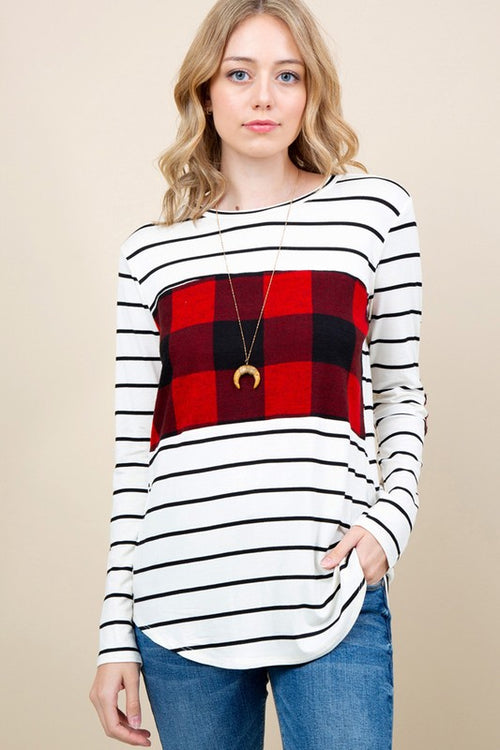She Drives Me Crazy Striped Long Sleeve Top with Contrast Plaid Print and Elbow Patches, White