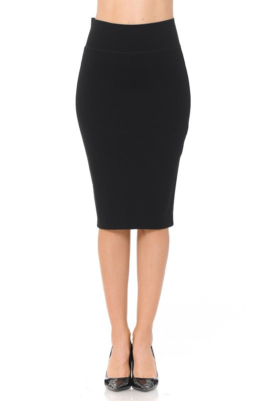 One More Time Solid Pencil Skirt