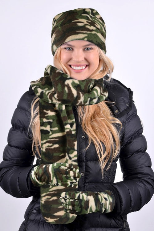 Camo Winter Scarf, Hat, Gloves & Earrring Bundle Set