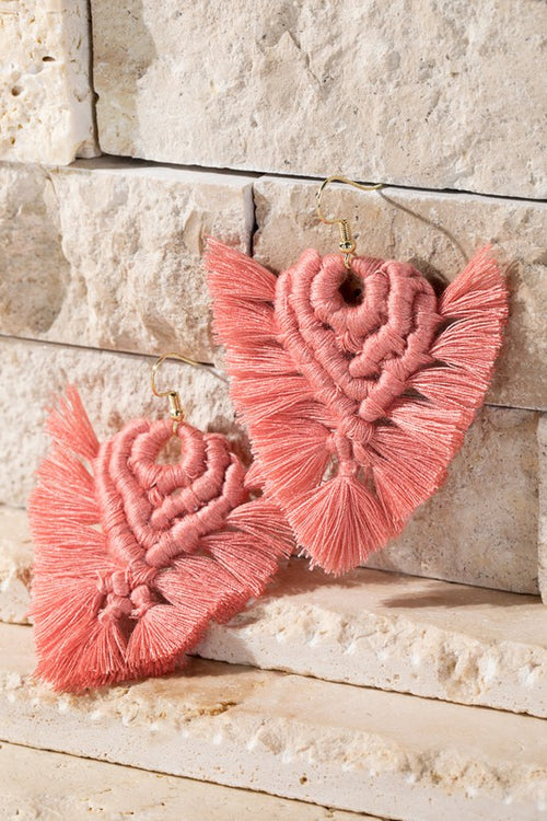 I'll Never Stop Macrame Tassel Earrings, Coral