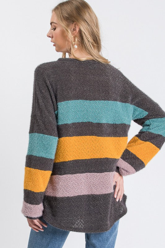 Where Have You Been Solid & Striped Color Block Sweater, Charcoal, Teal, Mustard