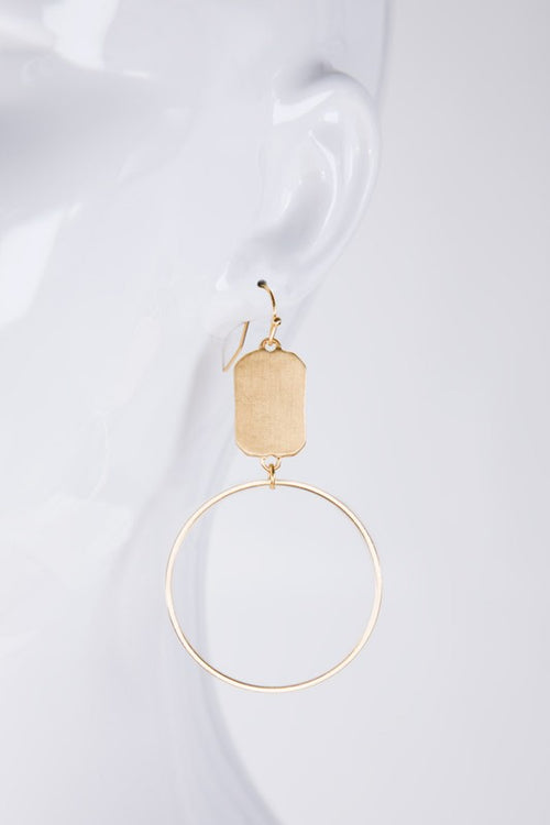 Dainty ring and a brushed rectangle-shape metal charm dangle hook earring, Matte Gold