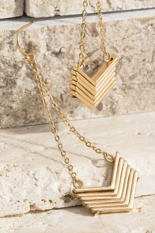 Sunday Morning Contrasting Chevron & Fine Chain Dangle Earrings, Gold